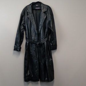Wilson Leather Men's black leather trench Coat